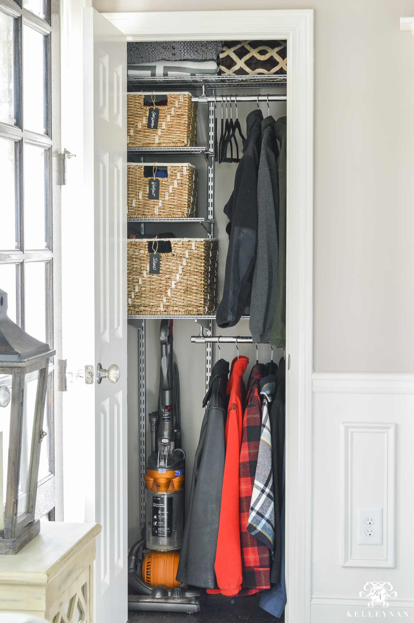 Organizing Before And After: Before And After Entry Coat Closet Organization Makeover
