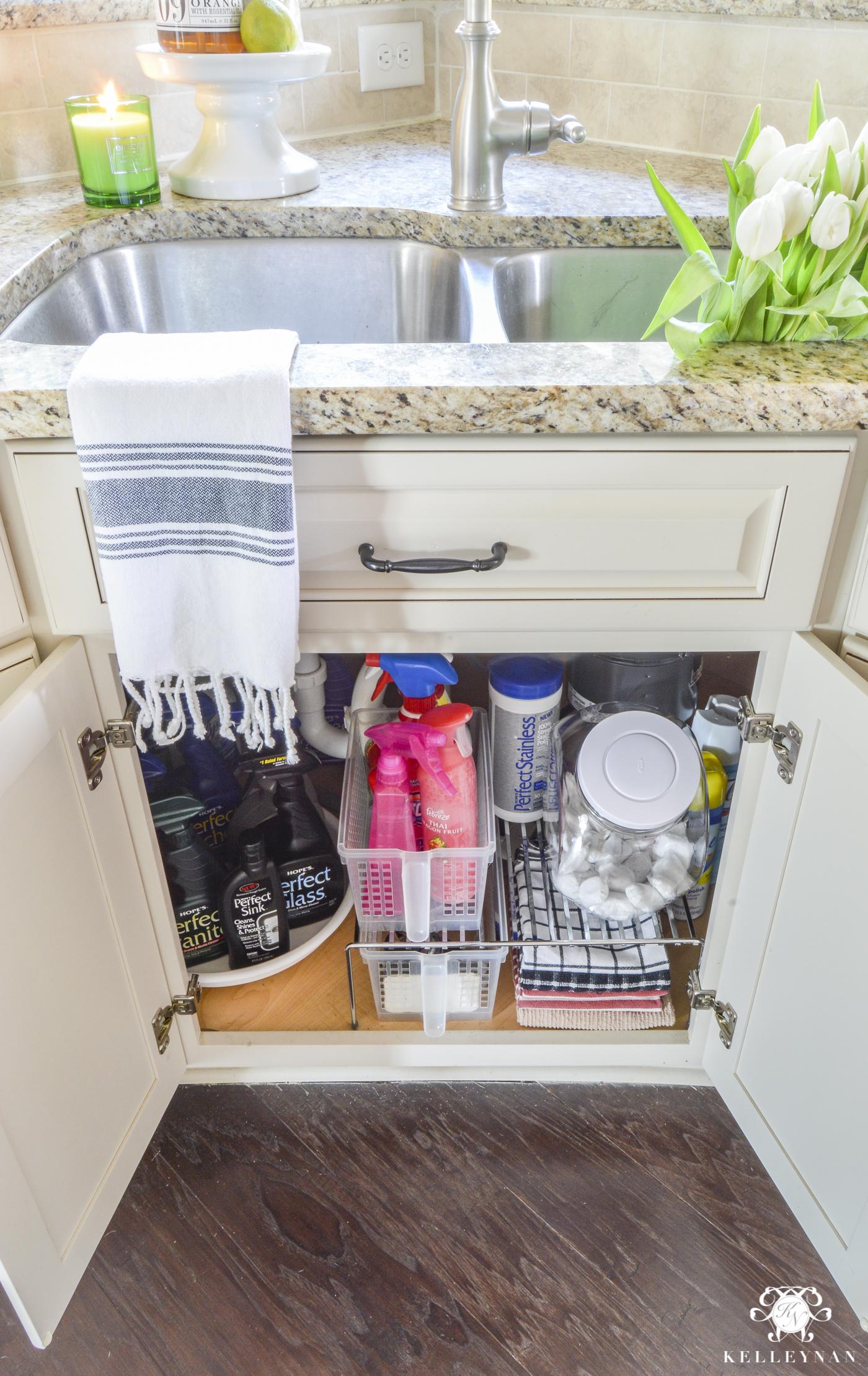 Organization For Under The Kitchen Sink
