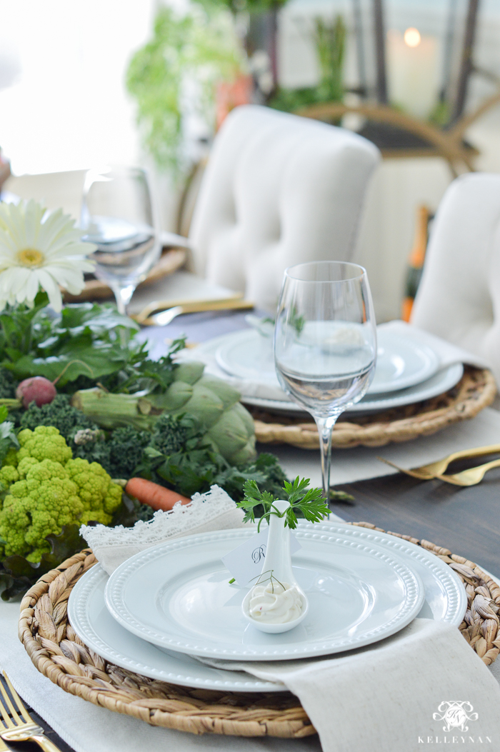 Easter Table Setting with Veggies and Dip