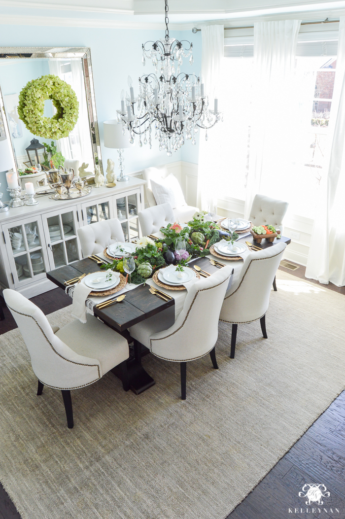 Elegant Laurenu0027s Surprise Blue Dining Room With World Market Linen Lydia  Chairs And Restoration Hardware Buffet