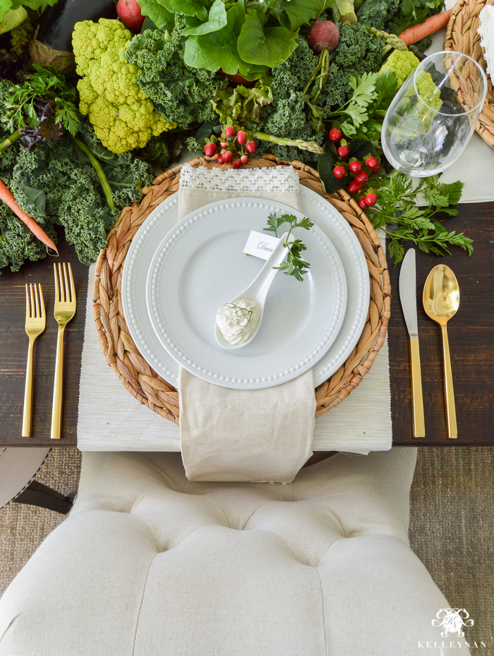 Vegetable Easter Table - place setting with Pottery Barn gold flatware(14 of 16)