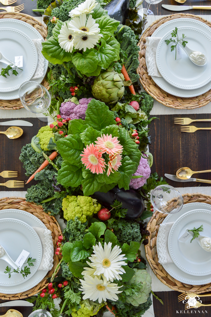 Vegetable Easter Table with lettuce and veggie centerpiece