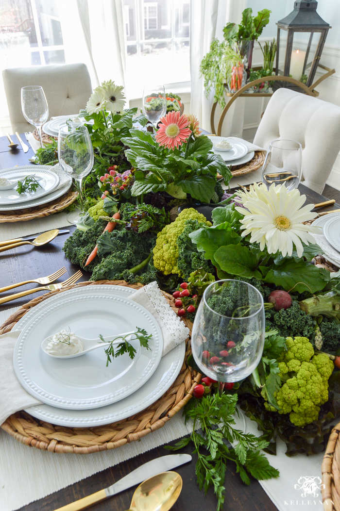 Vegetable Easter Table with veggie dip spoons