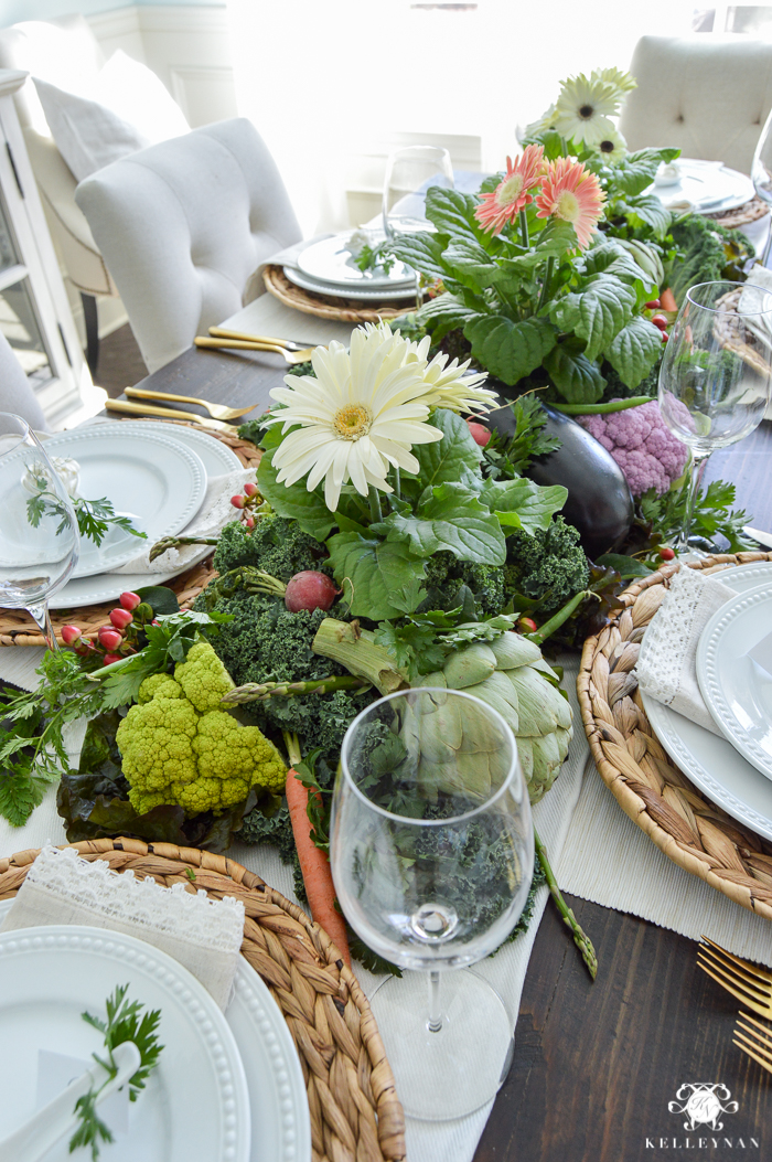 Vegetable Easter Table with woven chargers