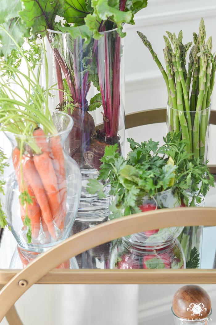 Vegetables in Vases on Bar Cart