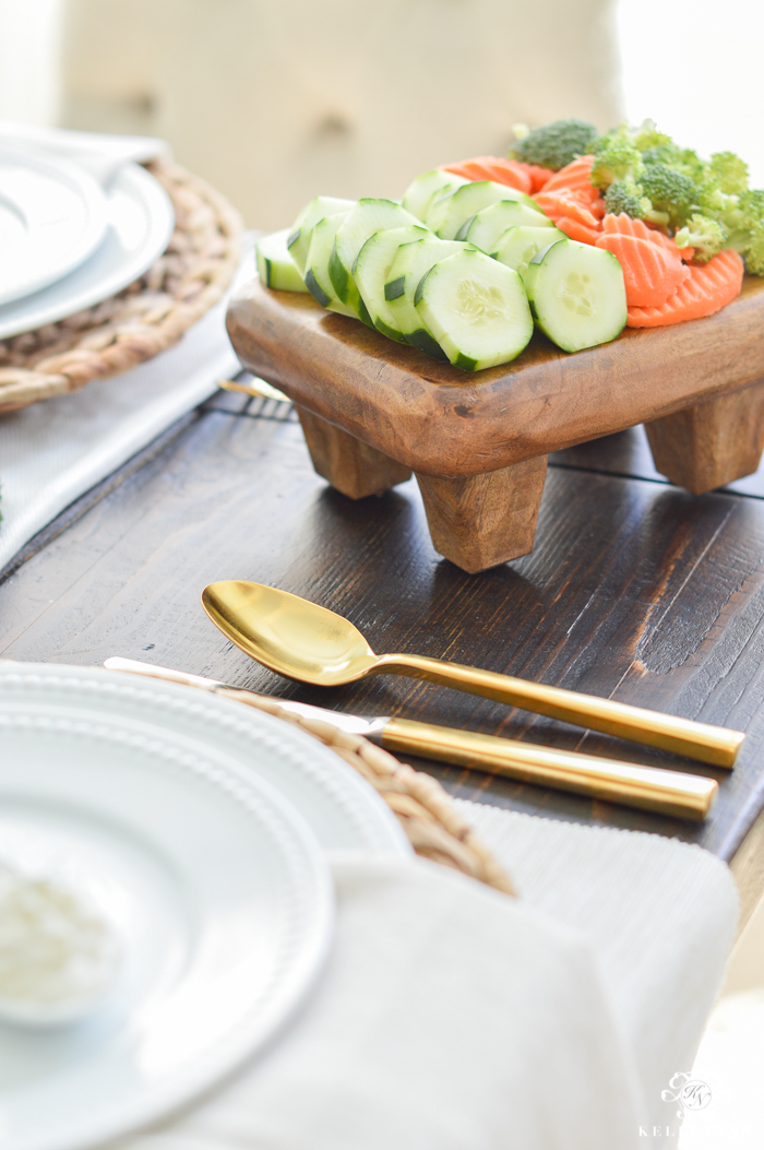 Vegetables on Pottery Barn wooden paddle board