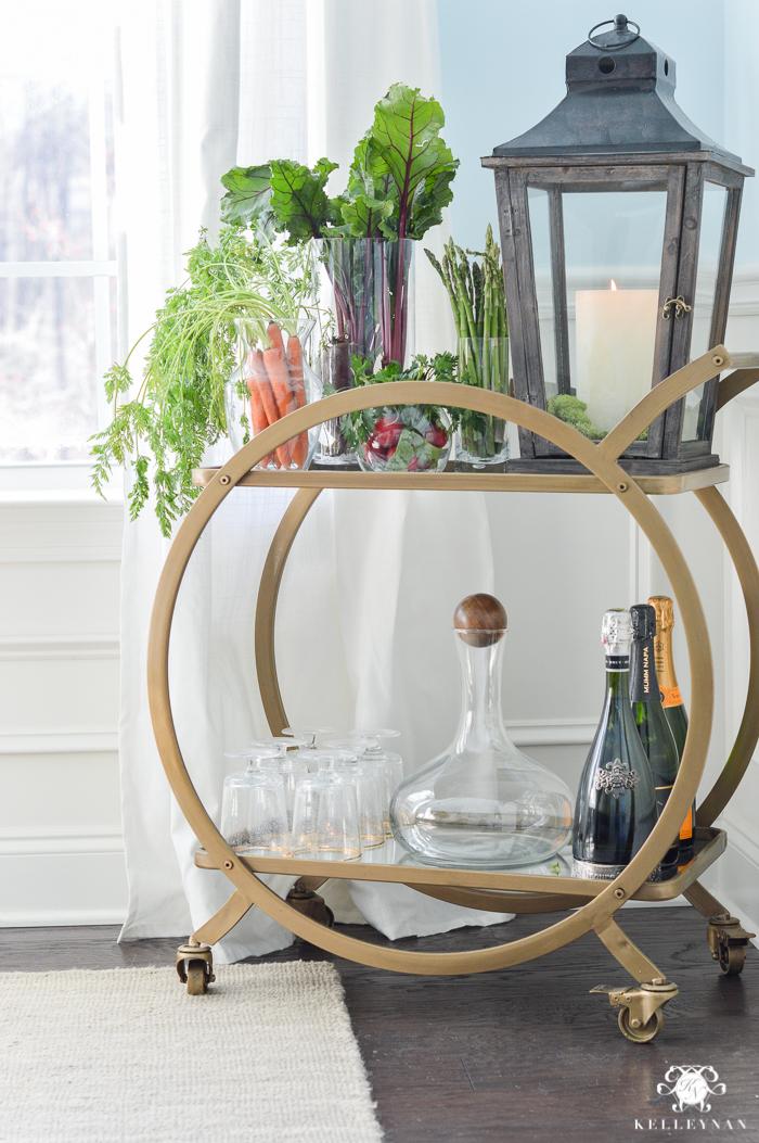 World Market Asher Bar Cart styled for Easter