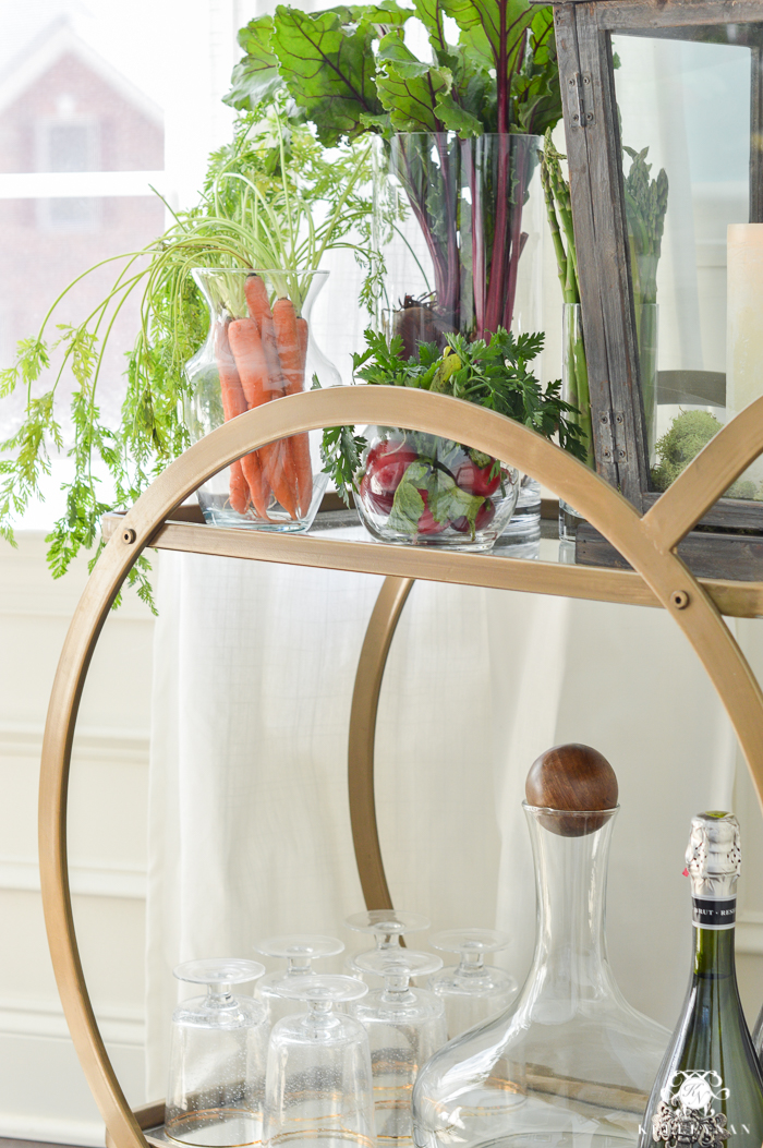 World Market Asher Bar Cart styled with Vegetables