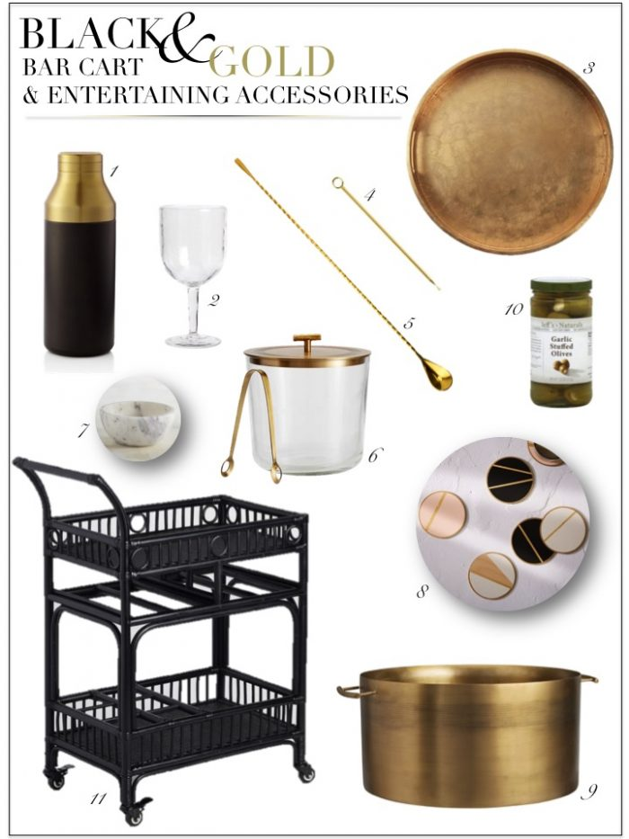 BLACK AND GOLD BAR ACCESSORIES AND BAR CART