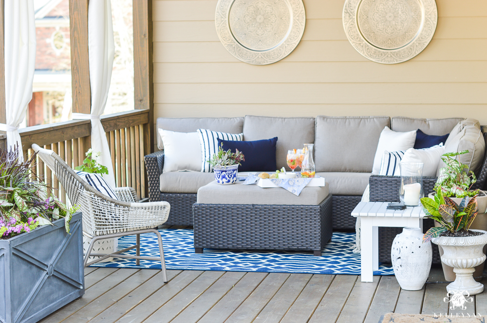 Before and After porch reveal in blue and white