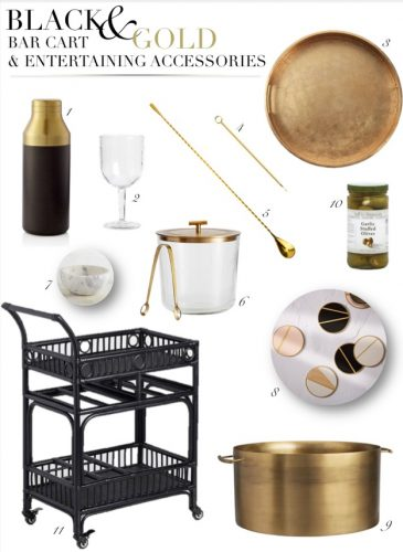 A New Favorite Bar Cart with Black and Gold Entertaining Accessories