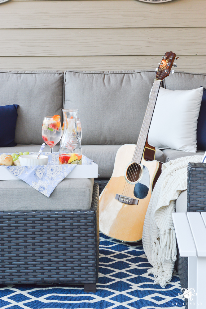 Guitar on the porch for outdoor living