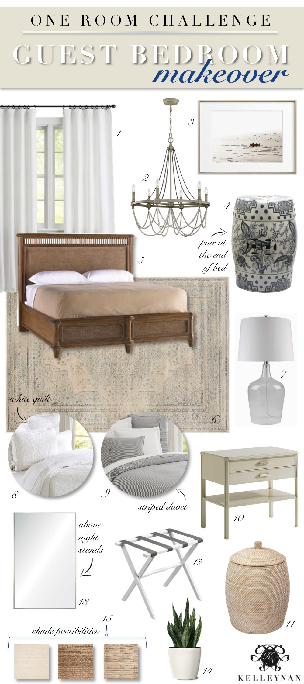 One Room Challenge Guest Bedroom Design Board with Cane Bed and Natural Elements
