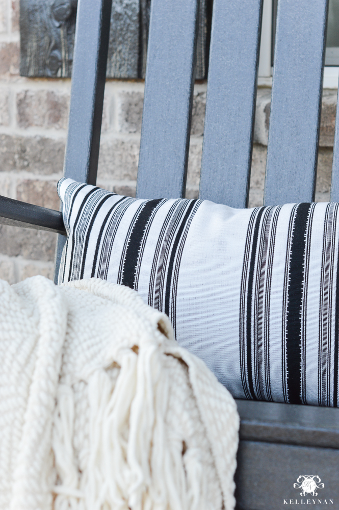 Spring Decorated Rocking Chair Front Porch with Restoration Hardware Striped Outdoor Pillows