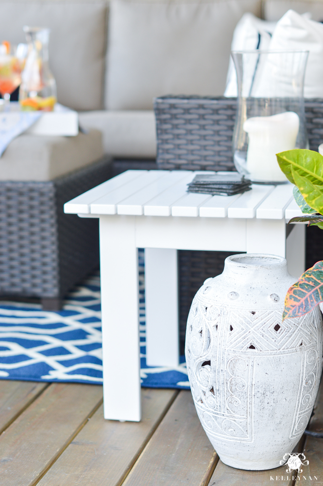 Variety of floor pots and urn in outdoor living space