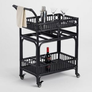 Black Rattan Bar Cart for Outdoor Entertaining