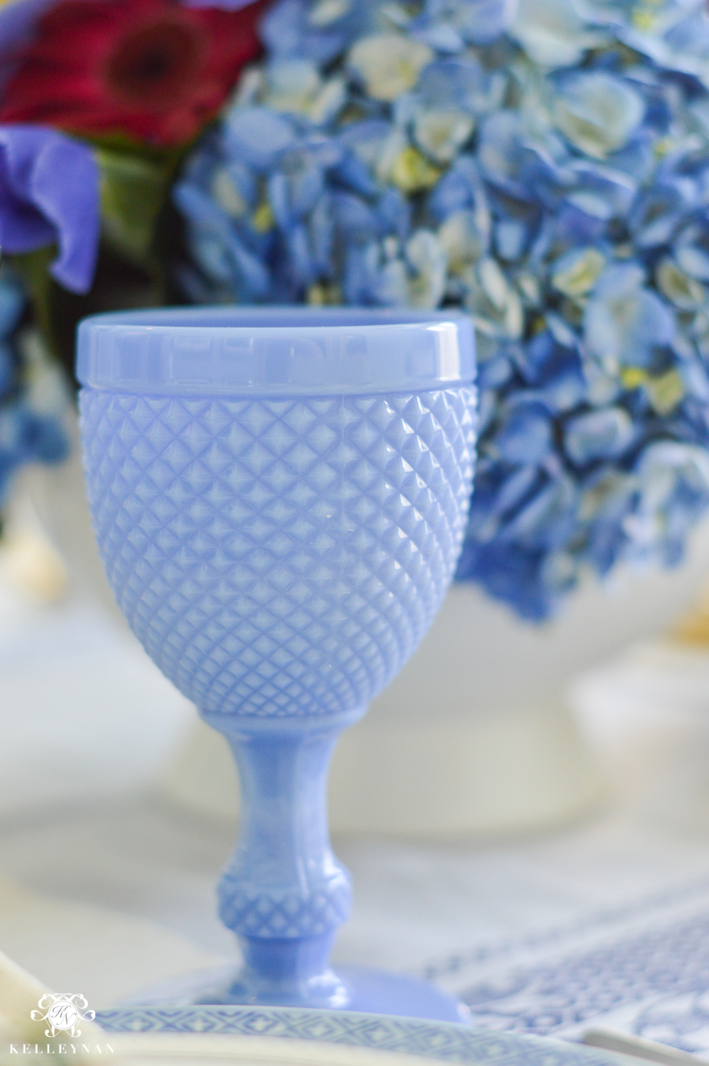 Blue Milk Glass goblets on tablescape