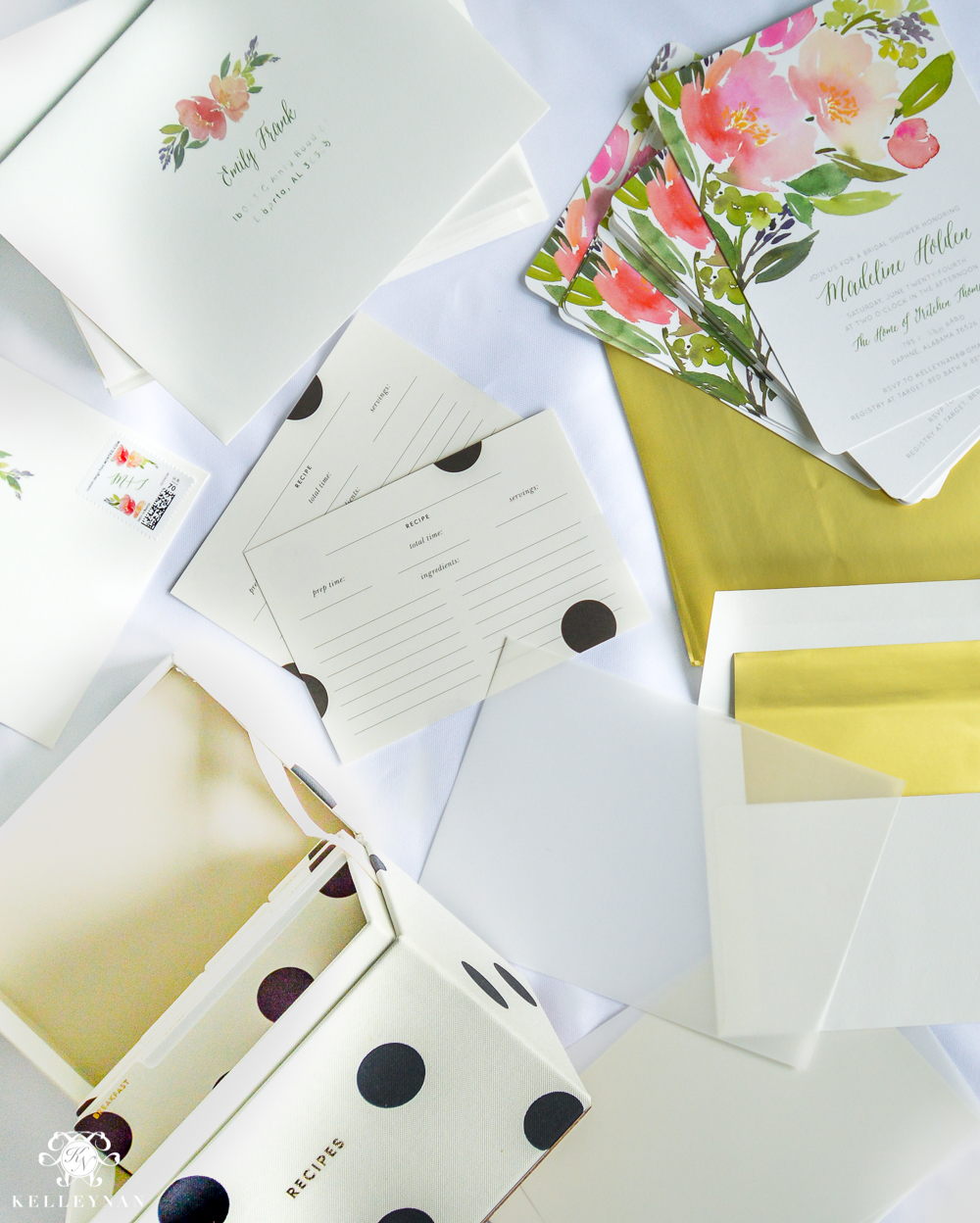 Bridal Shower Invitation Ideas with Recipe Cards- floral adn polka dot theme for garden party