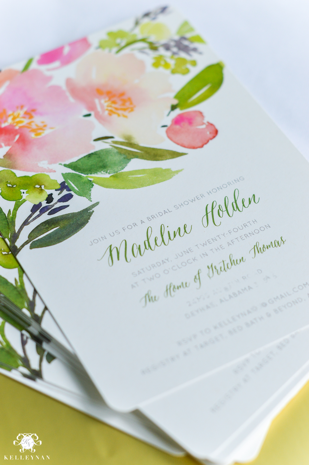 Bridal Shower Invitation Ideas with Recipe Cards-floral watercolor art