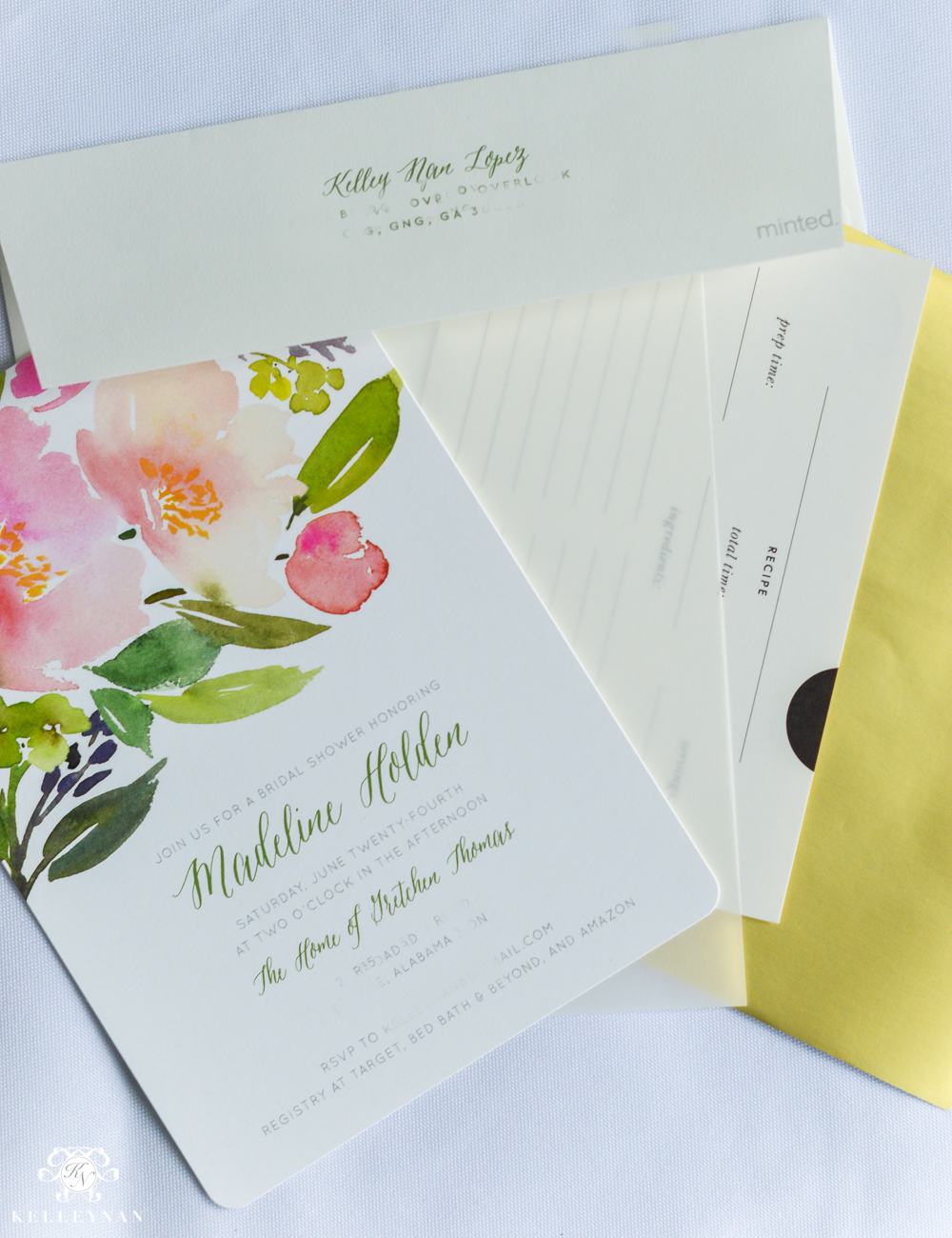 Bridal Shower Invitation Ideas with Recipe Cards-insert order