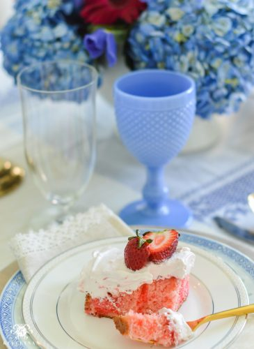 Jewel Toned Table and Easy Quadruple Strawberry Cake Recipe for Mother's Day