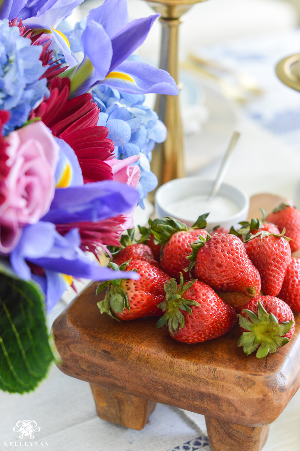 Jewel Tone and Blue and White Table with Strawberries and Sugar