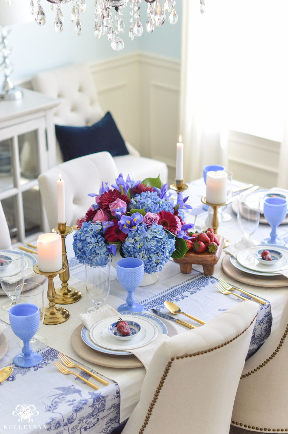 Jewel Tone and Blue and White Table with Strawberries in Elegant Dining Room