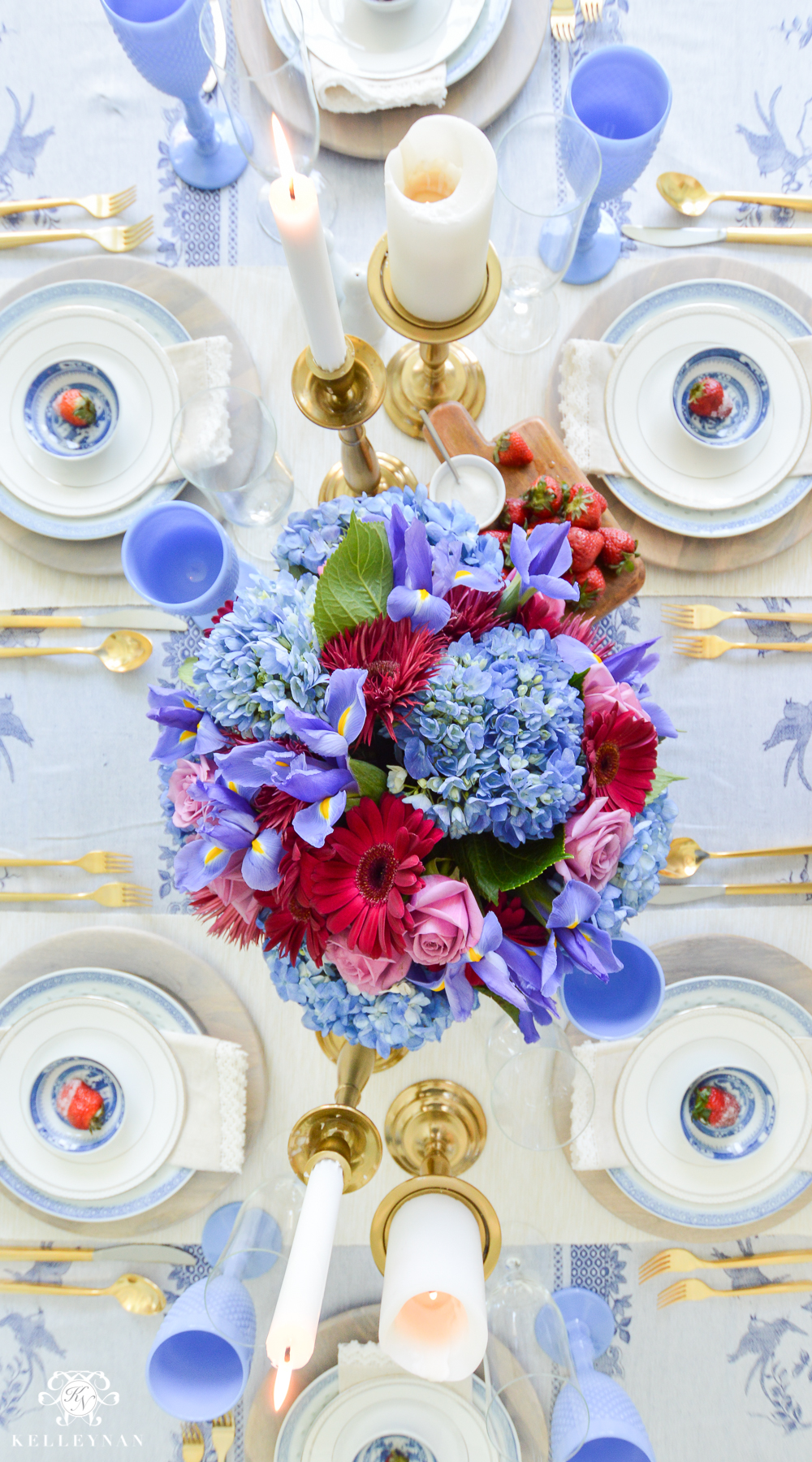 Jewel Tone table ideas from birds eye view