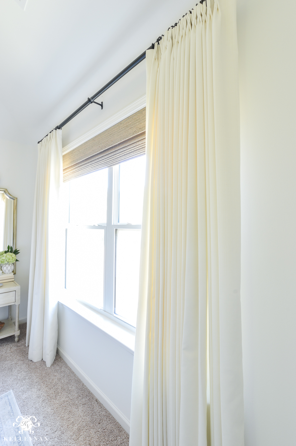 ORC Guest Bedroom Reveal- Blue and White Select Blinds linen curtains and wooden woven shades