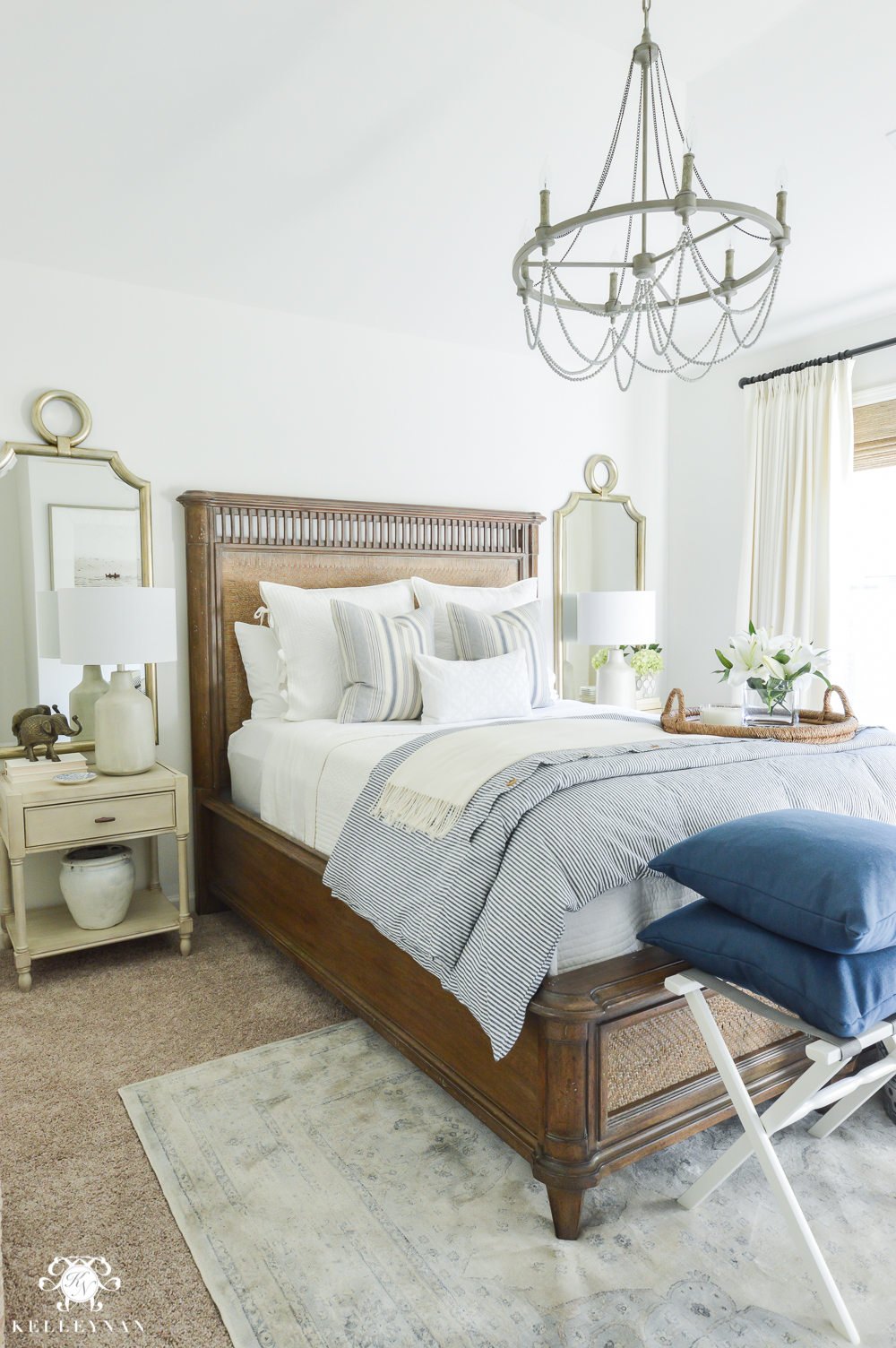 ORC Guest Bedroom Reveal- Blue and White-guest bedroom decorating inspiration