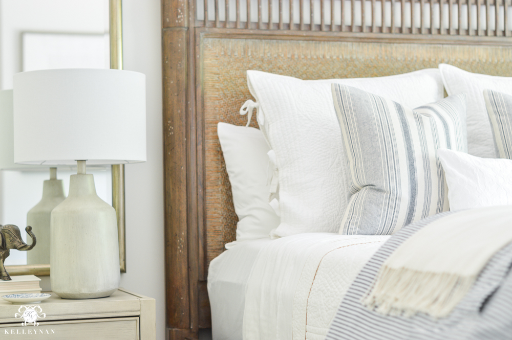 ORC Guest Bedroom Reveal- Blue and White- white night stands with wooden bed