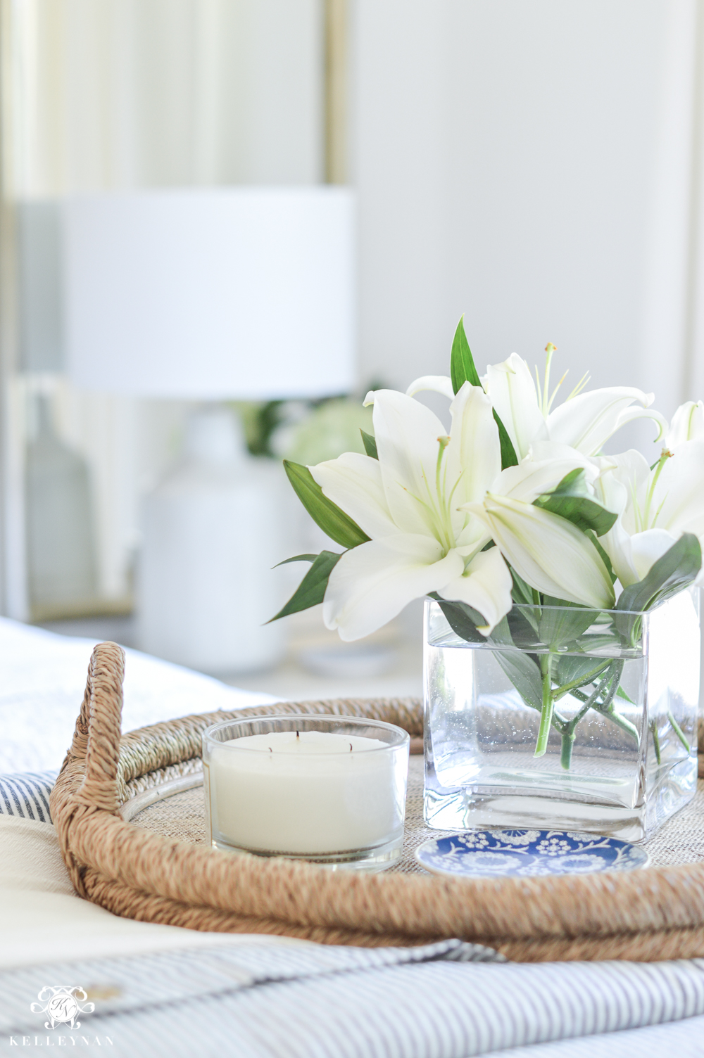 One Room Challenge Blue and White Guest Bedroom Reveal Before and After Makeover- bed tray styling