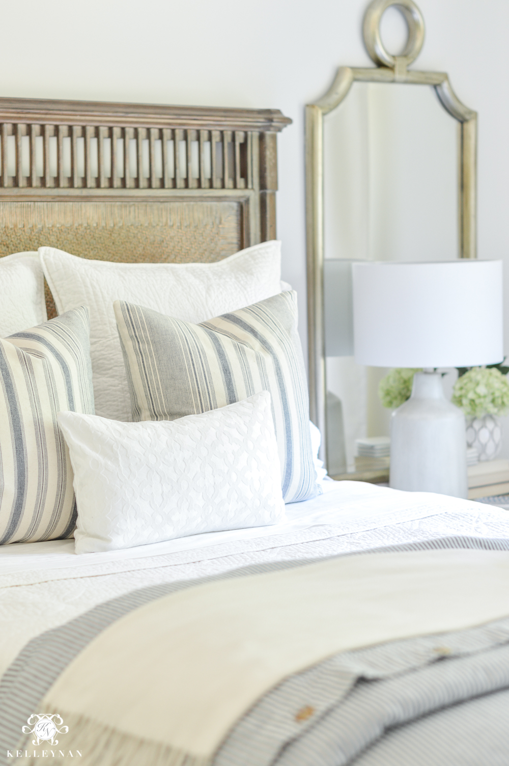 One Room Challenge Blue and White Guest Bedroom Reveal Before and After Makeover- blue and white pottery barn bedding