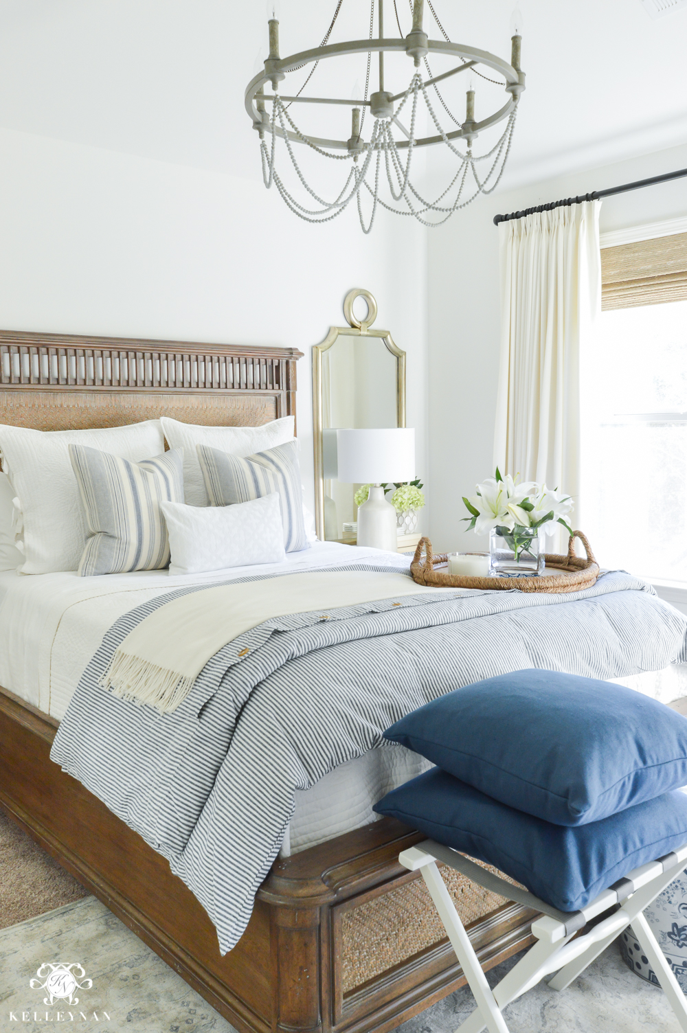 one room challenge classic blue and white guest bedroom 18362 | one room challenge blue and white guest bedroom reveal before and after makeover calming guest bedroom decor