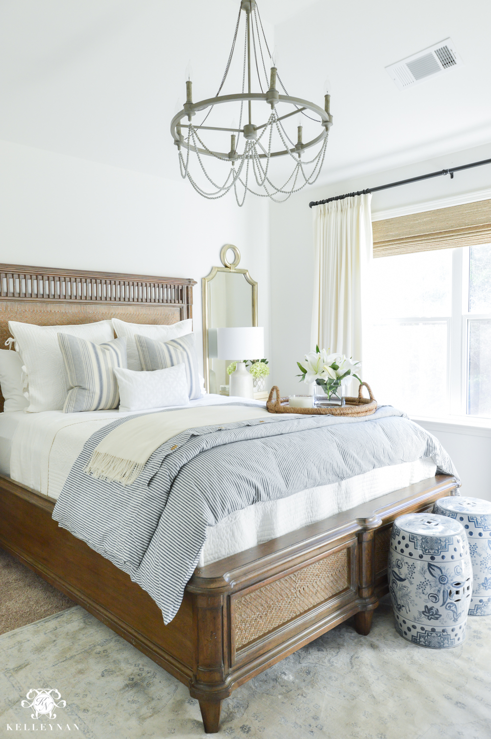 one room challenge classic blue and white guest bedroom reveal kelley nan. Black Bedroom Furniture Sets. Home Design Ideas