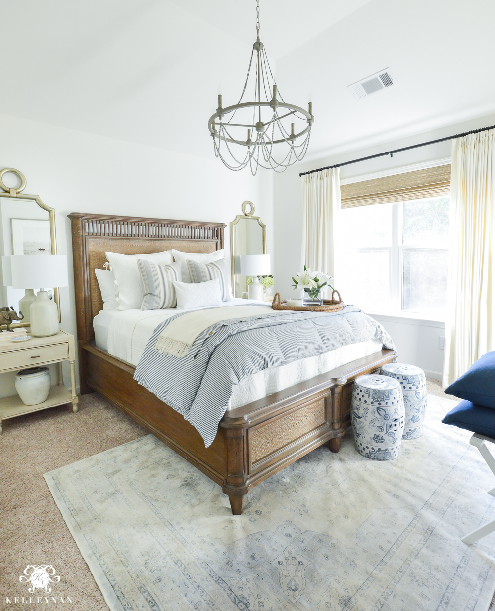 guest bedroom makeover one room challenge classic blue and white guest bedroom 11763