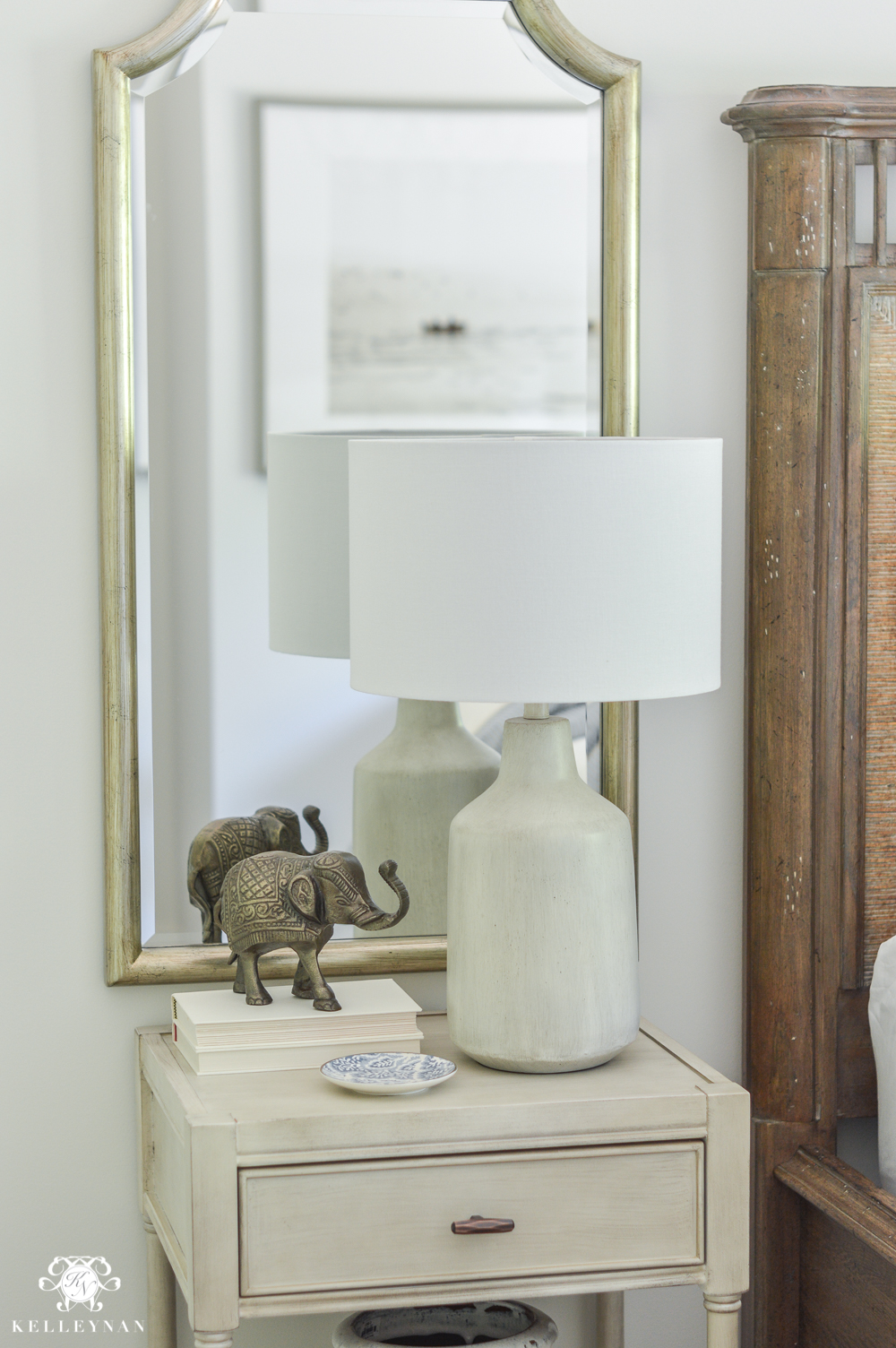 One Room Challenge Blue and White Guest Bedroom Reveal Before and After Makeover- how to style a night stand with mirror