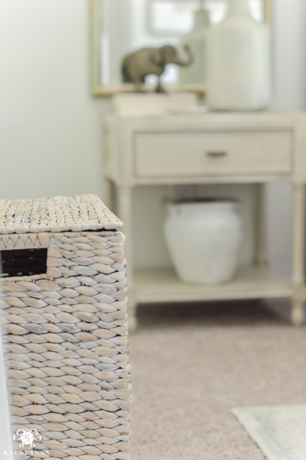 One Room Challenge Blue and White Guest Bedroom Reveal Before and After Makeover- laundry hamper in guest bedroom