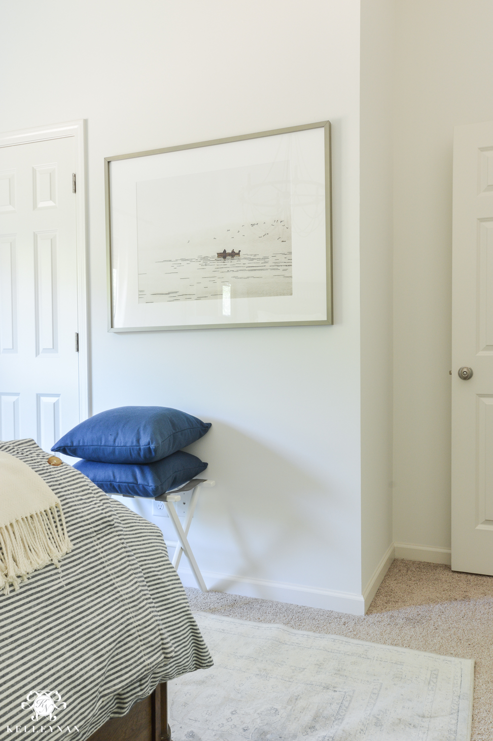 One Room Challenge Blue and White Guest Bedroom Reveal Before and After Makeover- luggage rack in guest bedroom
