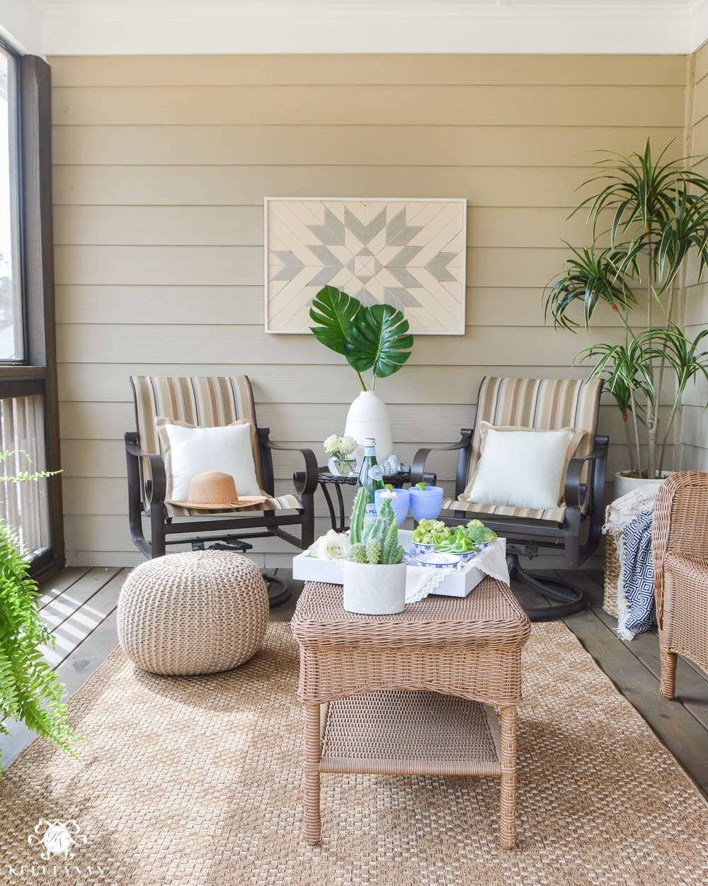 Shades of Summer Home Tour Back Screened In Porch- porch decorating ideas