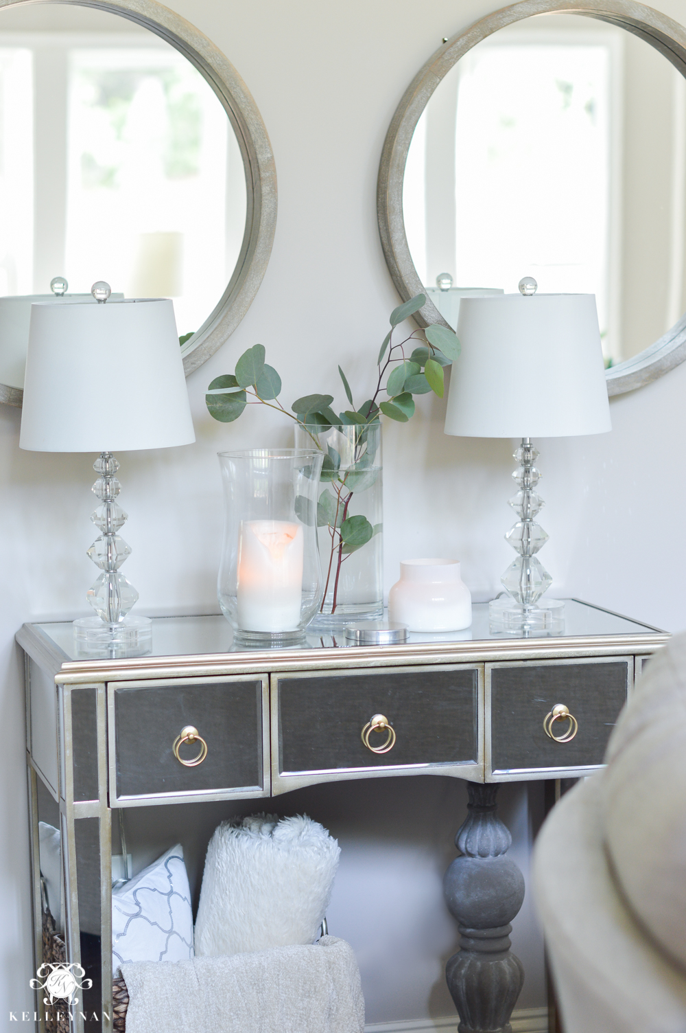Shades of Summer Home Tour with Neutrals and Naturals- Mirrored Console Table with Mirrors above