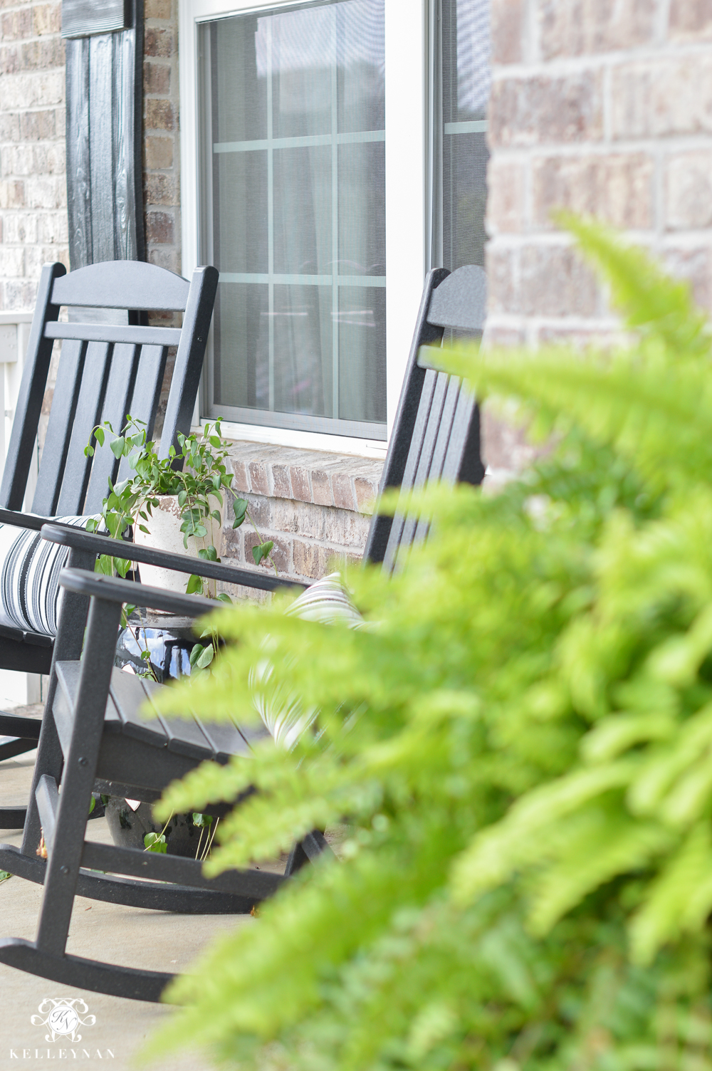 Shades of Summer Home Tour with Neutrals and Naturals-black polywood rocking chairs on front porchJPG