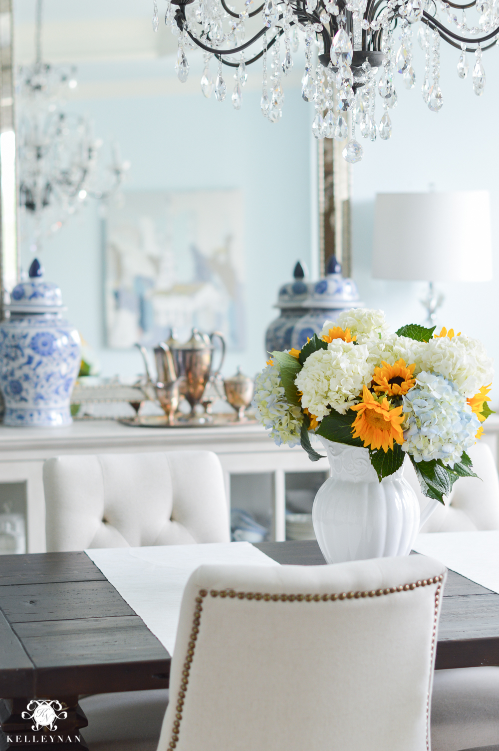 Shades of Summer Home Tour with Neutrals and Naturals- dining room sunflower and hydrangea centerpiece