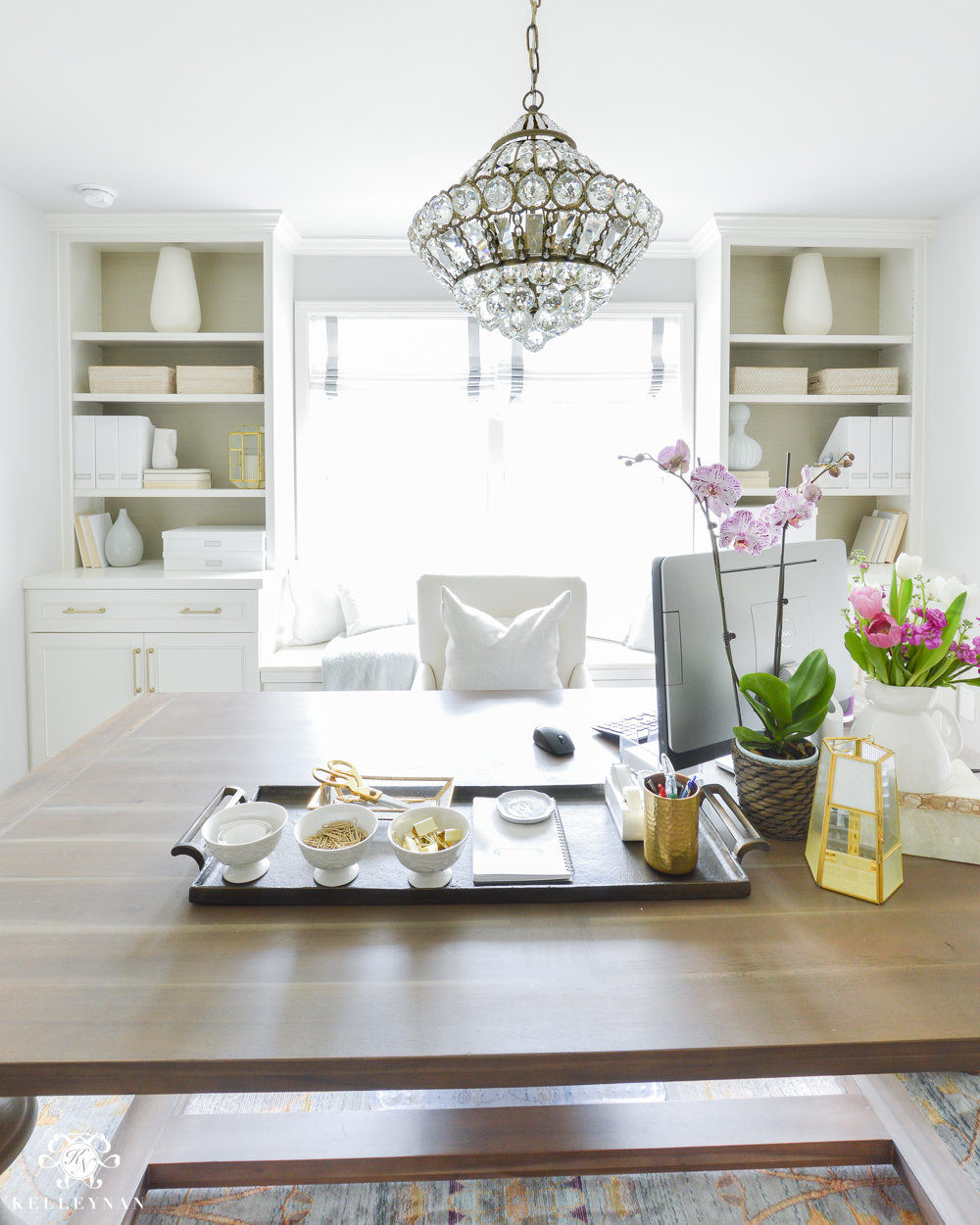 Shades of Summer Home Tour with Neutrals and Naturals- home office with built-ins and chandelier