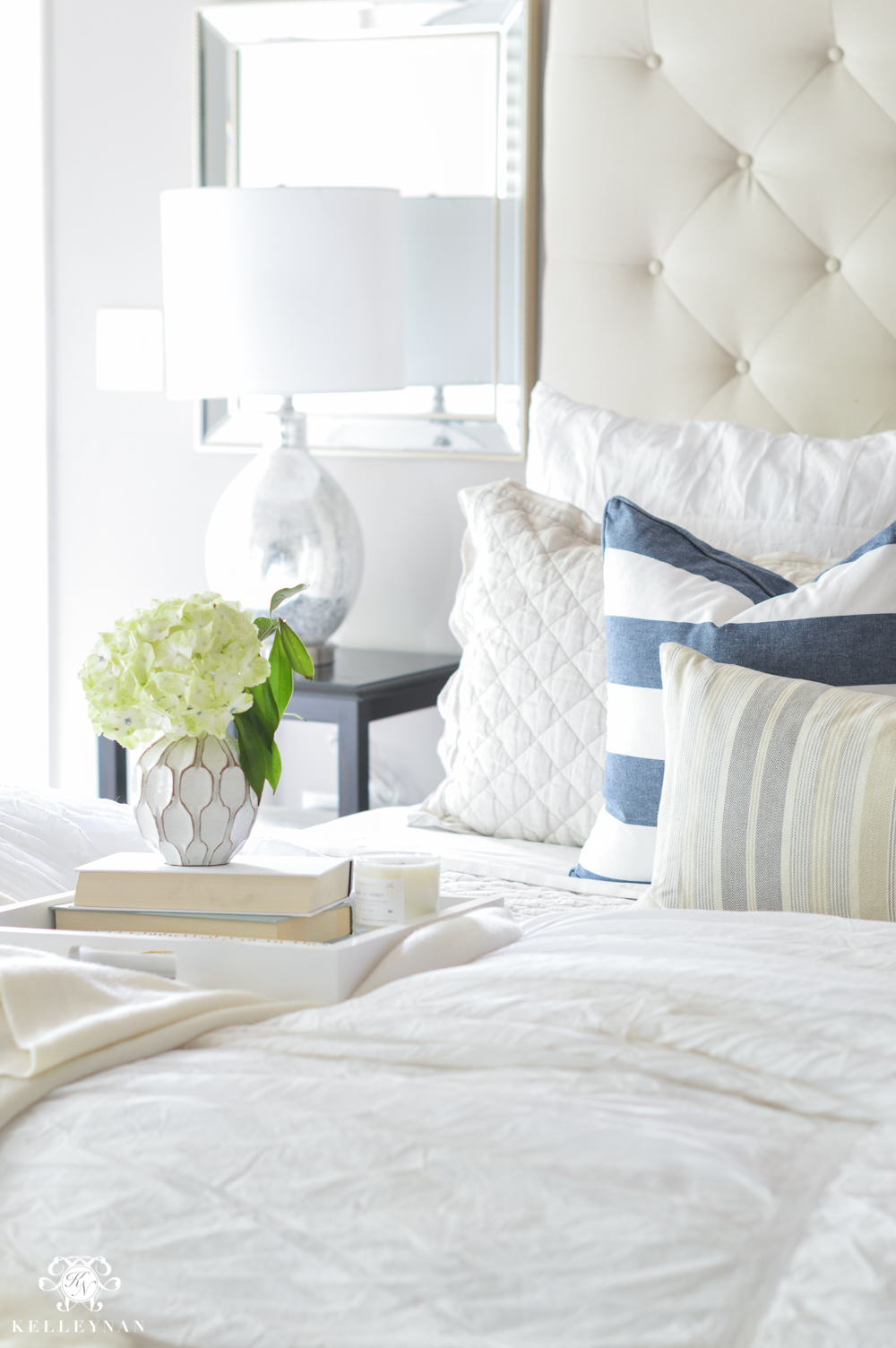 Shades of Summer Home Tour with Neutrals and Naturals- nautical tufted bed