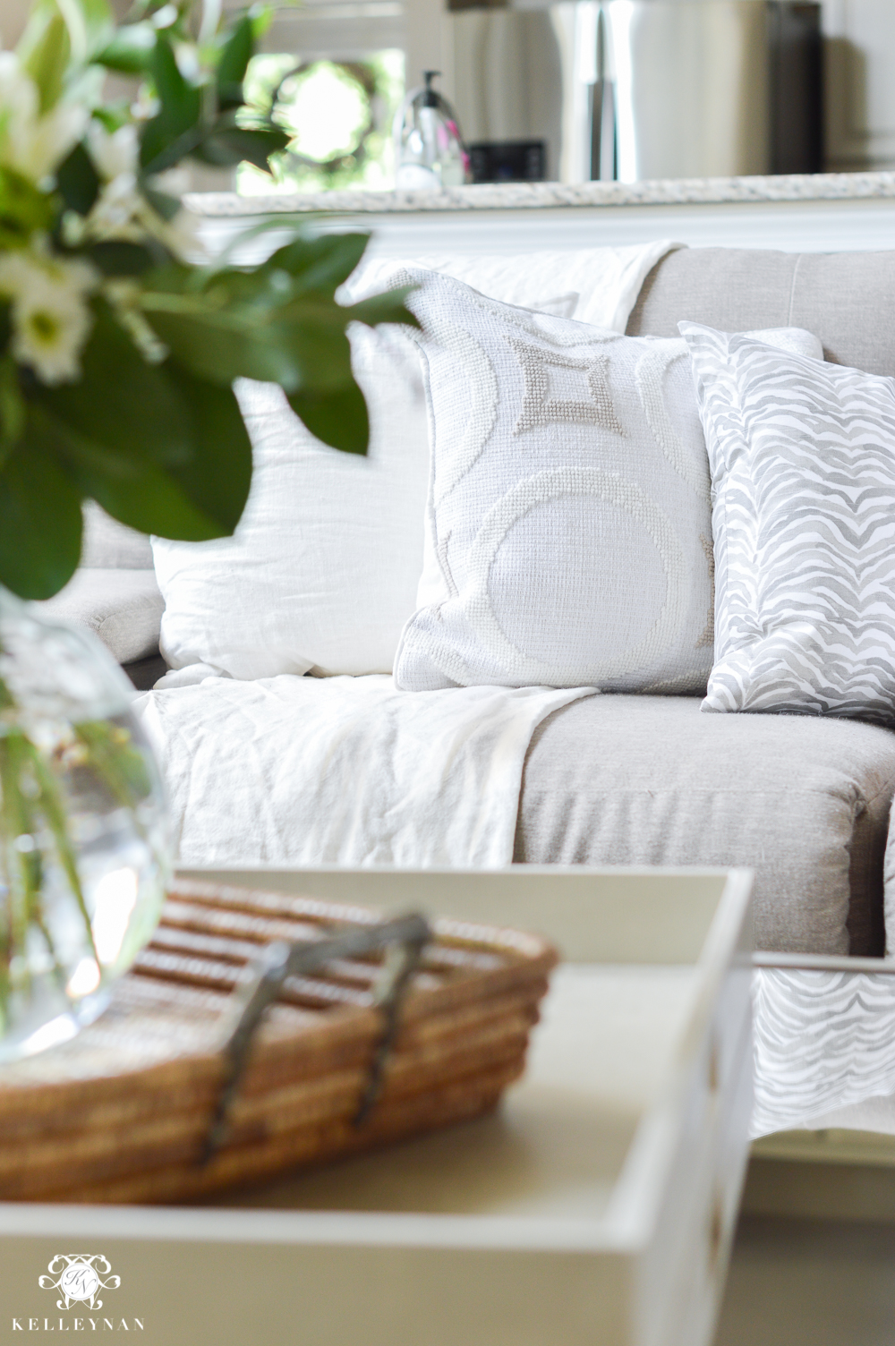 Shades of Summer Home Tour with Neutrals and Naturals-neutral pillows on summer sofa