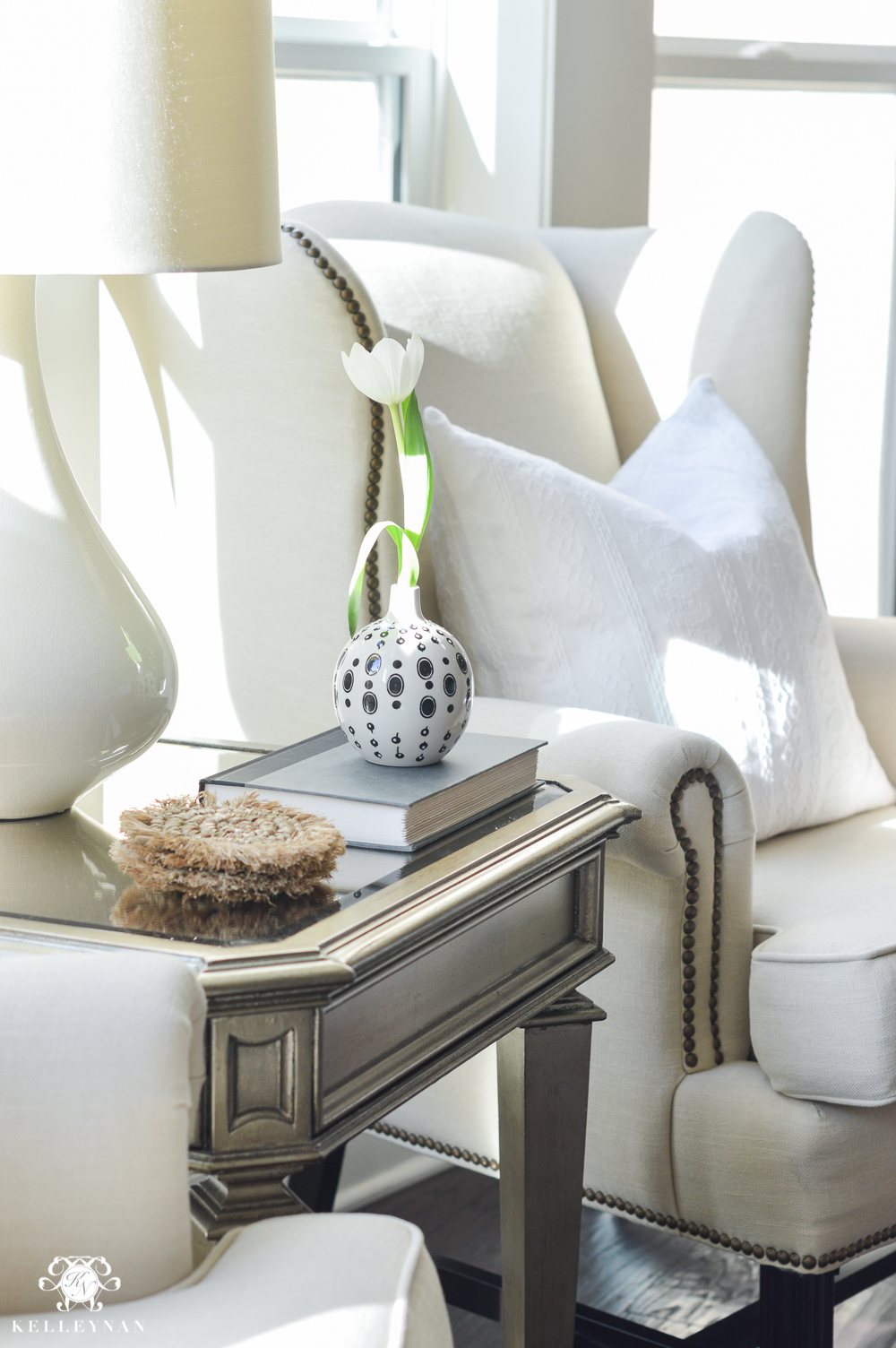 Shades of Summer Home Tour with Neutrals and Naturals- pottery barn thatcher wingback chair in living room