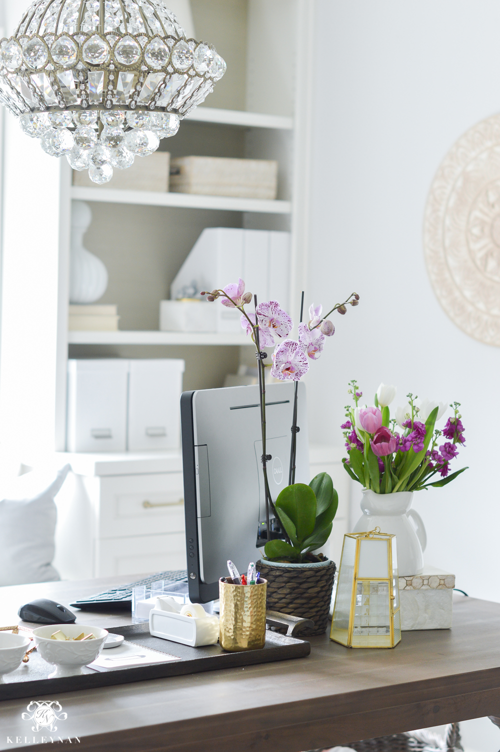 Shades of Summer Home Tour with Neutrals and Naturals- pretty home office with purple orchid and flowers