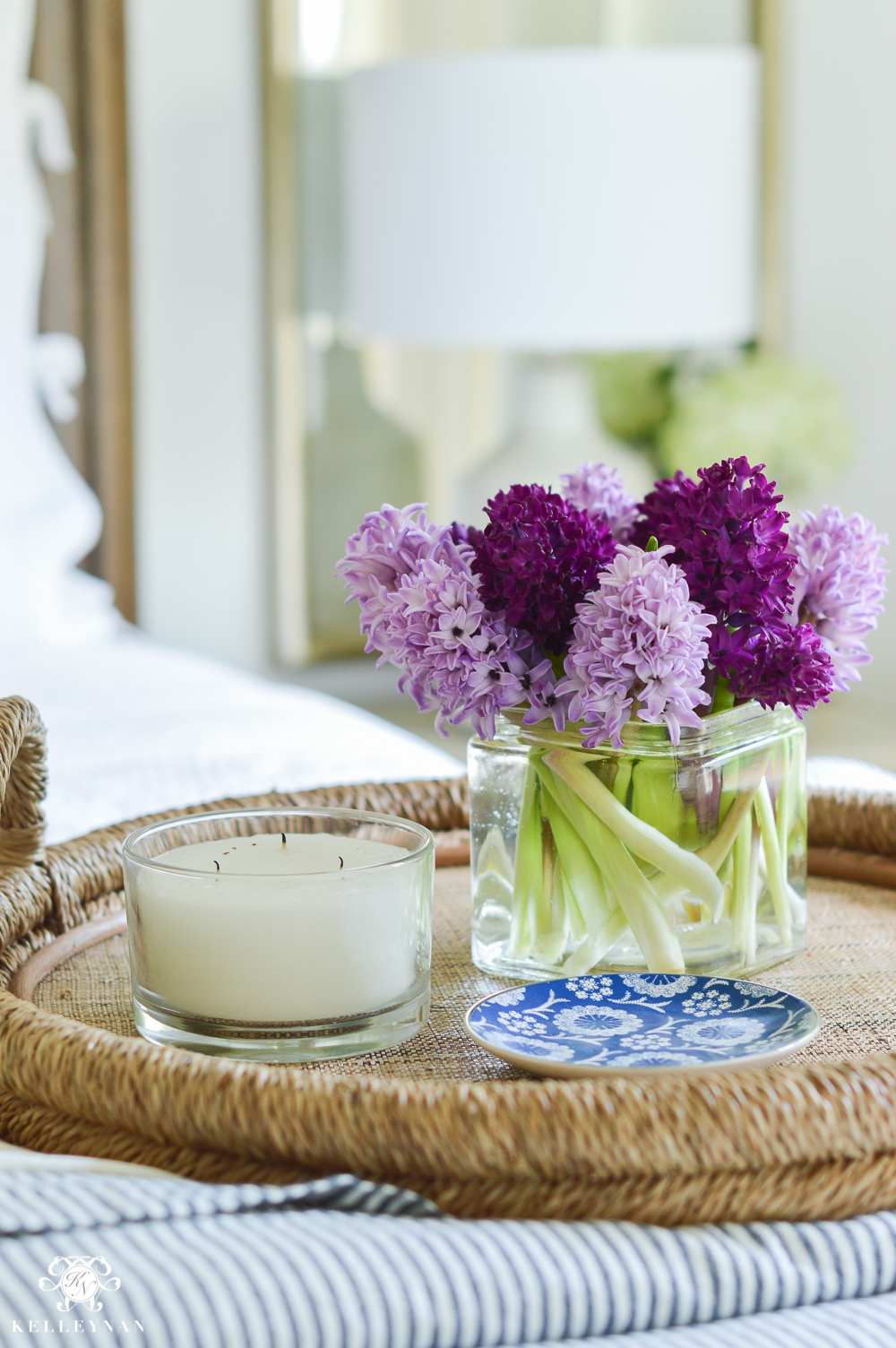Shades of Summer Home Tour with Neutrals and Naturals- shades of purple hyacinths