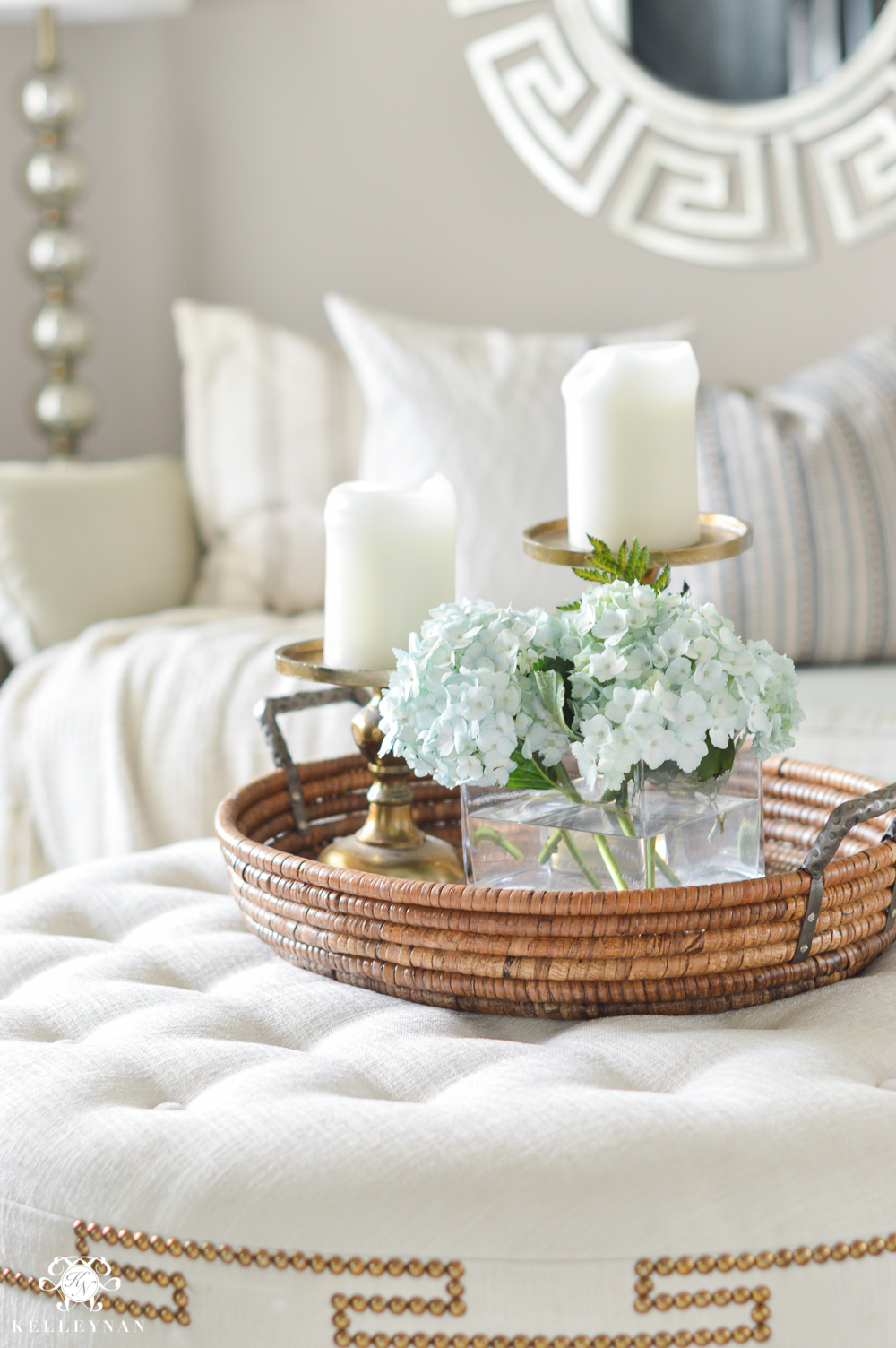 Shades of Summer Home Tour with Neutrals and Naturals- tufted greek key ottoman in formal living room